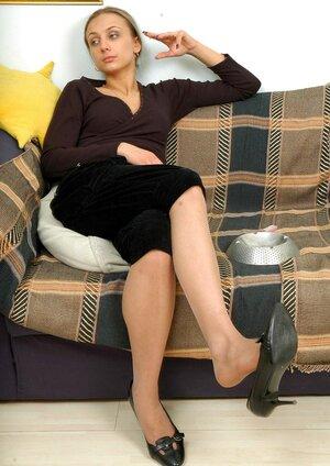 Christina exposing her nylon soles